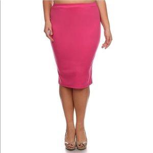 Curvy Collection Fuchsia Ponte Pencil Skirt